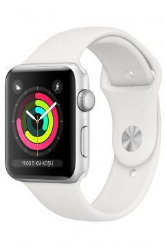Apple Watch Seri 3 GPS 42 mm Gümüş Rengi Alüminyum Kasa ve Beyaz Spor Kordon -(119131663)