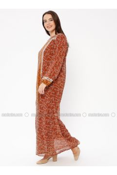Brown - Multi - Crew neck - Fully Lined - Dresses - Le Mirage(110338938)