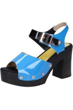 Sandales Suky Brand sandales bleu cuir verni noir AB324(115393818)