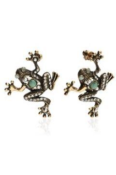 Alcozer & J Kadın Gold Kurbağa Formlu Sallantılı Küpe Altın Rengi EU(125183273)