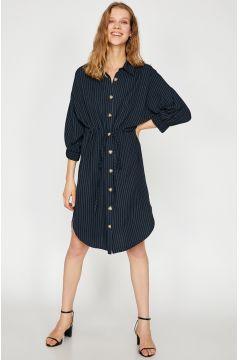 Koton Beli Bağlamalı Lacivert Elbise(113981130)