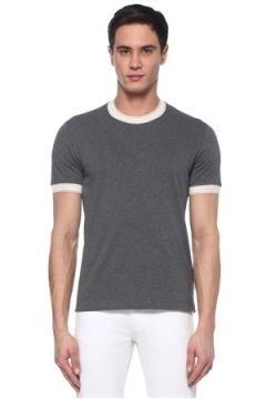 Brunello Cucinelli Erkek Regular Fit Gri Şerit Ribanalı T-shirt 50 IT(107373691)