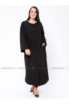 Black - Unlined - Crew neck - Topcoat - Sultan-ı Yegah(110335507)