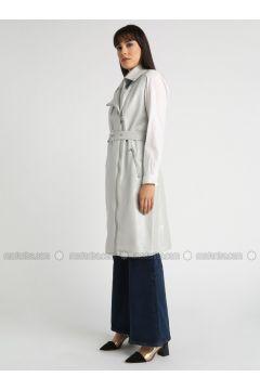 Gray - Fully Lined - Shawl Collar - Vest - MOODBASİC(110339186)