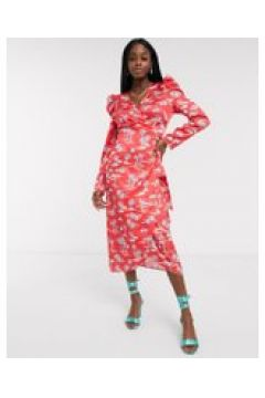 Never Fully Dressed - Vestito midi a portafoglio con maniche a sbuffo e stampa di palme rosso-Multicolore(120331282)