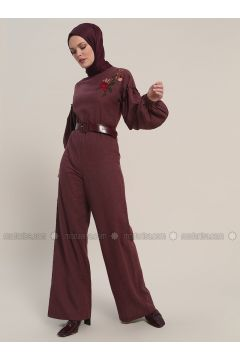 Maroon - Unlined - Crew neck - Cotton - Jumpsuit - Refka(110319100)