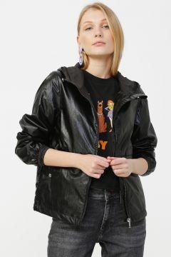 Only Siyah Kapüşonlu Ceket(113998379)