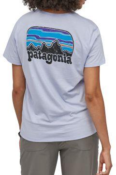 T-Shirt à Manche Courte Femme Patagonia Fitz Roy Far Out Organic Crew Pocket - Beluga(119237102)