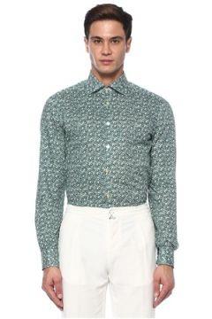 Kiton Erkek Yeşil Çiçek Desenli Gömlek 42 IT(118214563)