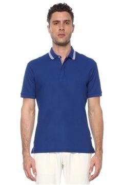 Network Erkek Slim Fit Mavi Polo Yaka Jakarlı T-shirt L EU(117771750)