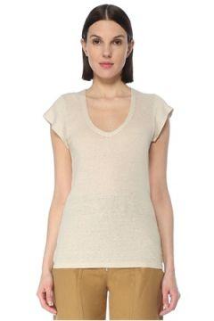 Etoile Isabel Marant Kadın Ekru V Yaka Keten T-shirt Bej XS EU(127641547)