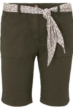 TOM TAILOR Damen Chino Relaxed Bermuda-Shorts mit Bindegürtel, grün, Gr.36(114529192)