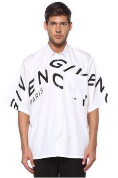 Givenchy Erkek Beyaz Polo Yaka Kontrast Logolu Poplin Gömlek 38 IT(119423151)