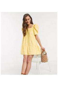 Fashion Union Petite - Vestito grembiule corto con scollo quadrato-Giallo(120330711)