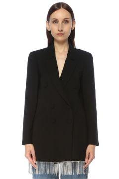 Forte Couture Kadın Siyah Taş Püskül Detaylı Kruvaze Blazer Ceket 42 IT(117384886)