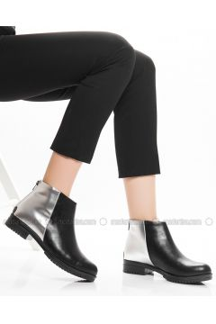 Black - Silver tone - Boot - Boots - Ayakkabı Havuzu(110340083)