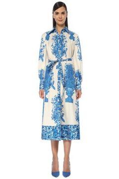 Valentino Kadın Beyaz Mavi Karışık Desenli Midi Elbise 40 IT(118374776)