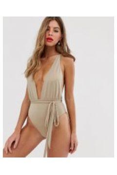 Miss Selfridge - Badeanzug mit tiefem Ausschnitt und Bindegürtel(95025945)
