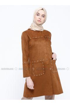 Camel - Unlined - Crew neck - Jacket - Ginezza(110321548)