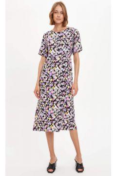 DeFacto Kadın Çiçek Desenli Kısa Kollu Dokuma Elbise(125933564)