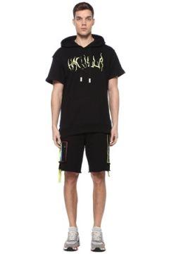 Haculla Erkek Masked Pins Siyah Kapüşonlu Nakışlı Sweatshirt M EU(109109797)