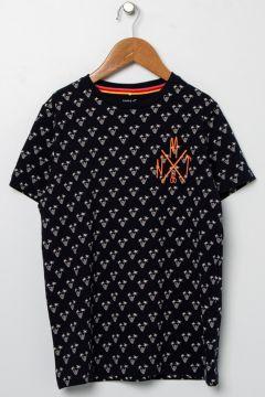 Name İt Kız Çocuk Palmiye Desenli Lacivert T-Shirt(113980194)