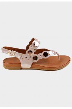 SHOELAB Bej Simli Hakiki Deri Kadın Aksesuarlı Sandalet(118221783)