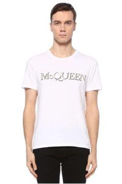 Alexander McQueen Erkek Beyaz Logo Detaylı Basic T-shirt S EU(126848047)