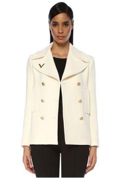Valentino Kadın Beyaz Kelebek Yaka Logolu Kruvaze Yün Kaban 40 IT(119423107)