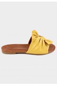 SHOELAB Sarı Hakiki Deri Kadın Comfort Terlik(124971030)
