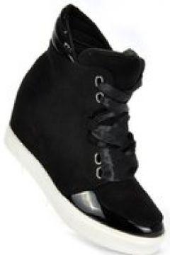 Pantofelek24.pl   Sznurowane trampki sneakersy na koturnie CZARNE(112082217)