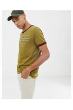 Nudie Jeans Co - Kurt - Ringer-T-Shirt in Khaki mit Logo - Grün(86681706)