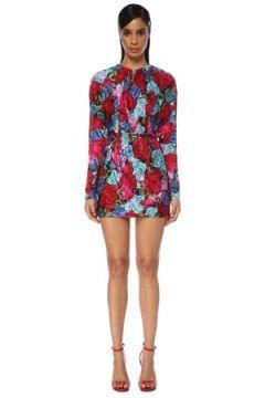 Versace Kadın Çiçekli Kemer Detaylı Uzun Kol Mini Elbise 38 IT(120730937)