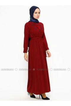 Maroon - V neck Collar - Unlined - Dresses - SUEM(110315277)