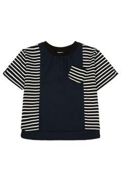 Zweifarbiges T-Shirt mit Streifen(113867502)