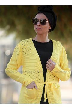 Yellow - Acrylic - Cardigan - Myzen(110333240)