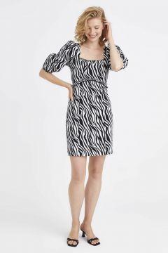 Kadın Kare Yaka Balon Kol Poplin Elbise(126604034)
