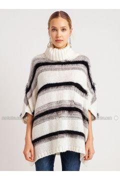 Ecru - Stripe - Polo neck - Acrylic -- Knitwear - NG Style(110341268)