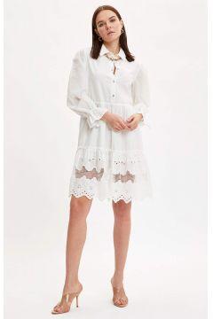 DeFacto Kadın Düğme Detaylı Dokuma Elbise(119064989)