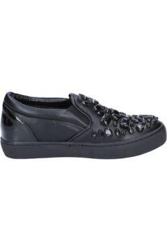 Chaussures Sara Lopez slip on mocassins noir cuir cuir verni BX706(115442625)