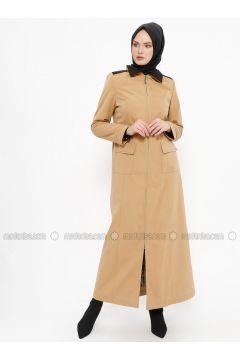 Camel - Fully Lined - Point Collar - Topcoat - Tekbir(110335661)