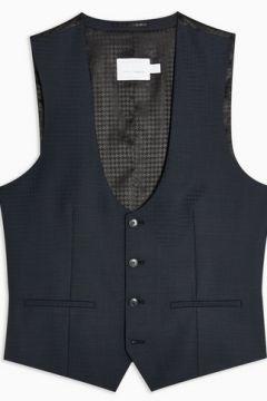 Gilet de costume skinny bleu marine vichy Premium(110406013)