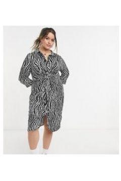 Simply Be - Vestito camicia con incrocio e stampa zebrata-Nero(124132373)