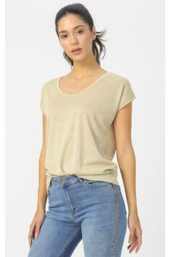 Fashion Friends Bej Simli T-Shirt(116366301)