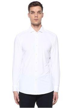 Boss Erkek Slim Fit Beyaz Yarı İtalyan Yaka Travel Gömlek 39 IT(108972773)
