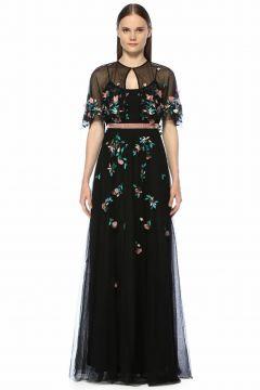 Marchesa Notte Askılı Çiçek Nakışlı Boncuklu Maksi Elbise(118410797)