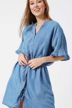 Only Fır Fır Detaylı Denim Elbise(113979034)