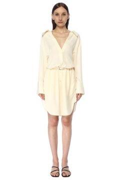 Alexander Wang Kadın Ekru V Yaka Kemerli Mini İpek Gömlek Elbise Bej 2 US(117384923)