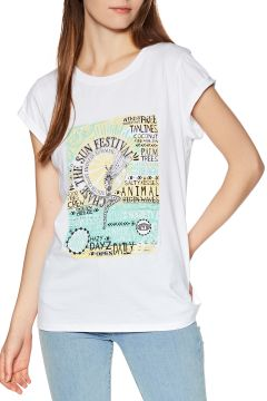 Animal Moon Flower Damen Kurzarm-T-Shirt - White(110360954)