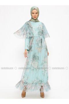 Mint - Floral - Fully Lined - Crew neck - Muslim Evening Dress - BÜRÜN(110314478)